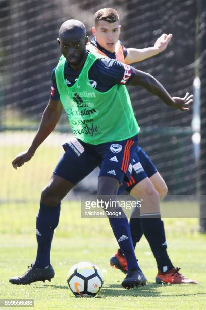 Jason Geria of the Victory controls the ball during a Melbourne Victory ALeague training session at Gosch's Paddock on October 10 2017 in Melbourne...