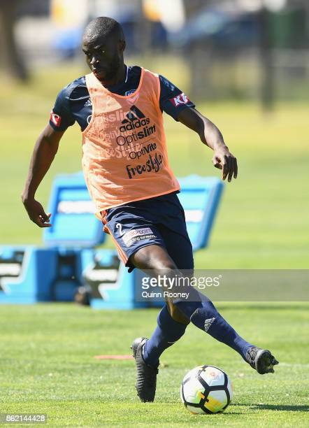 Jason Geria of the Victory controls the ball during a Melbourne Victory ALeague training session at Gosch's Paddock on October 17 2017 in Melbourne...