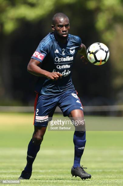 Jason Geria of the Victory controls the ball during a Melbourne Victory ALeague training session at Gosch's Paddock on October 18 2017 in Melbourne...