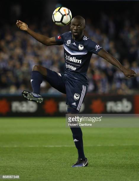 Jason Geria of the Victory controls the ball during the round one ALeague match between the Melbourne Victory and Sydney FC at Etihad Stadium on...
