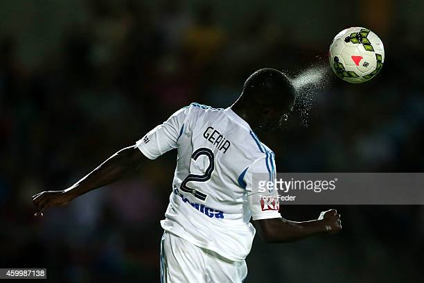 Jason Geria of the Victory heads the ball during the round 10 ALeague match between the Central Coast and the Melbourne Victory at North Sydney Oval...