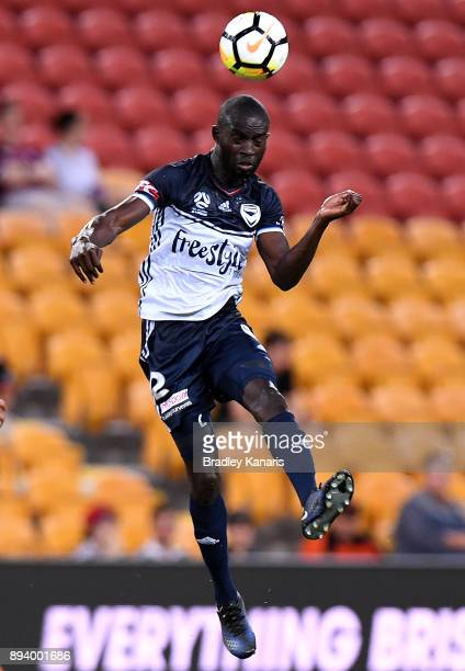 Jason Geria of the Victory heads the ball during the round 11 ALeague match between the Brisbane Roar and the Melbourne Victory at Suncorp Stadium on...