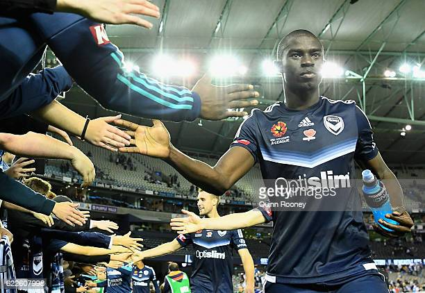 Jason Geria of the Victory high fives fans after winning the round six ALeague match between the Melbourne Victory and the Western Sydney Wanderers...