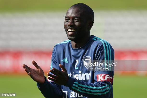 Jason Geria of the Victory reacts during a Melbourne Victory ALeague training session at WIN Jubilee Stadium on May 6 2017 in Sydney Australia