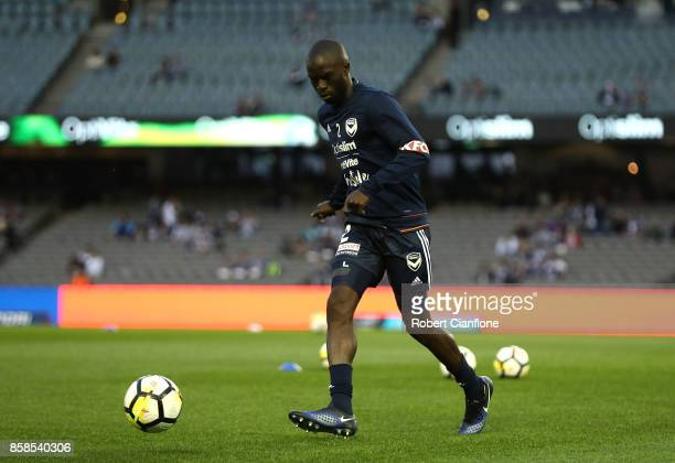 Jason Geria of the Victory warms up for the round one ALeague match between the Melbourne Victory and Sydney FC at Etihad Stadium on October 7 2017...
