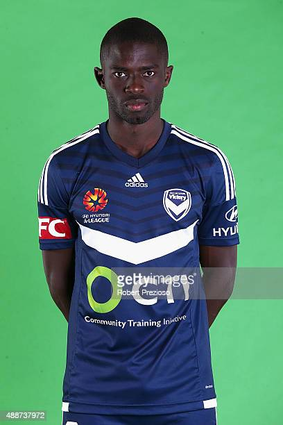 Jason Geria poses during the Melbourne Victory ALeague headshots session at AAMI Park on September 17 2015 in Melbourne Australia