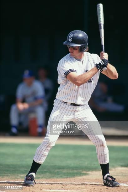 Jason Giambi, First Baseman for the Long Beach State Dirtbags at bat during the NCAA Big West Conference baseball season circa June 1992 at the Blair...