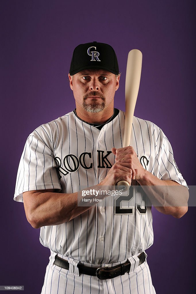Jason Giambi #23 of the Colorado Rockies poses for a portrait during photo day at the Salt River Fields at Talking Stick on February 24, 2011 in Scottsdale, Arizona.