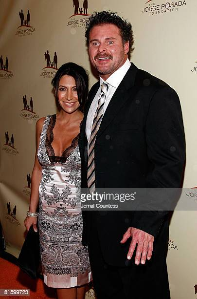 Jason Giambi of the New York Yankees and Kristian Rice Giambi attend the 7th Annual Jorge Posada Foundation Heroes of Hope Gala on June 16 2008 at...