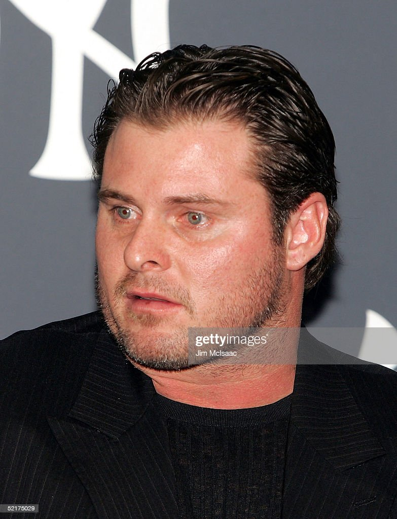 Jason Giambi of the New York Yankees speaks to the media during his press conference to discuss his alleged steroid use on February 10, 2005 at Yankee Stadium in Bronx borough of New York City.