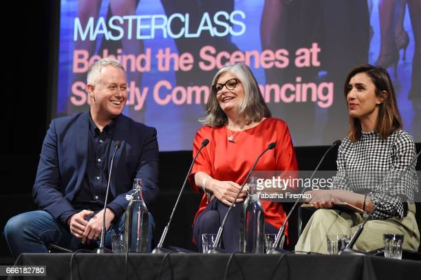 Jason Gilkison Louise Rainbow and chair Anita Rani speak on stage during the panel discussion 'Behind the Scenes of Strictly' at the BFI Radio Times...
