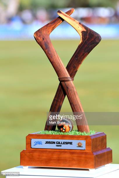 Jason Gillespi Trophy during the Big Bash League match between the Adelaide Strikers and the Perth Scorchers at Traeger Park on January 13 2018 in...