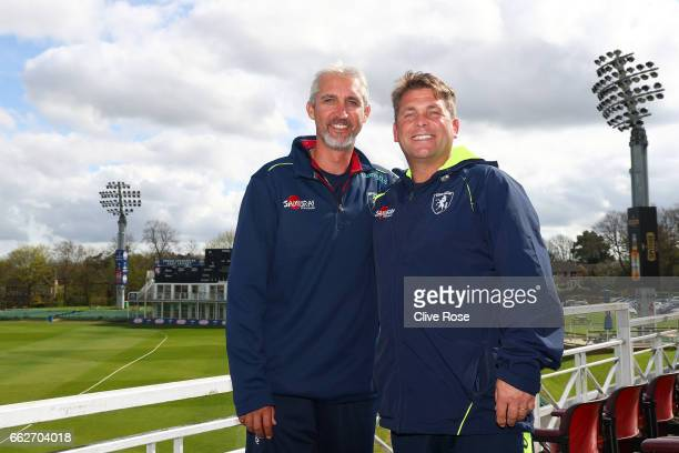Jason Gillespie and Matt Walker of Kent CCC poses during the Kent CCC Photocall at The Spitfire Ground on March 31 2017 in Canterbury England