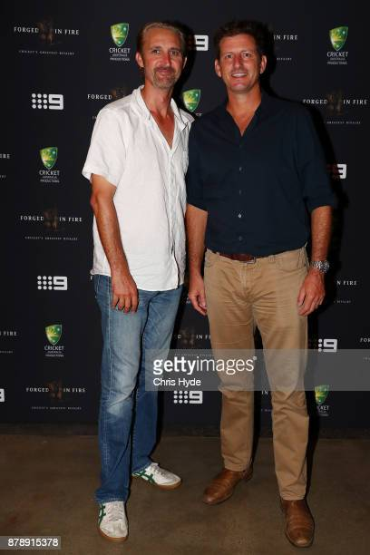 Jason Gillespie and Michael Kasprowicz arrive at the premier of Forged In Fire at Queensland Gallery of Modern Art Cultural Precinct on November 25...