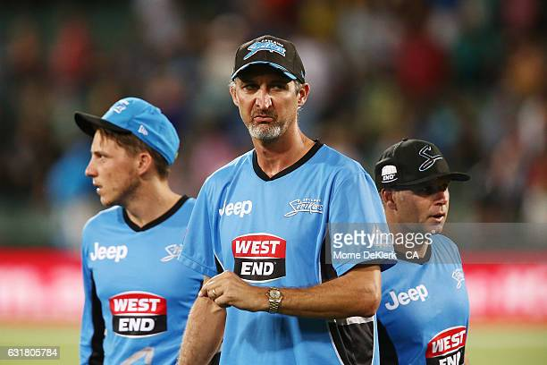 Jason Gillespie coach of the Adelaide Strikers and Brad Hodge captain of the Adelaide Strikers looks on after the Big Bash League match between the...