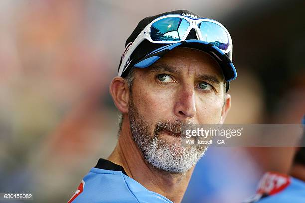 Jason Gillespie coach of the Strikers looks on during the Big Bash League between the Perth Scorchers and Adelaide Strikers at WACA on December 23...
