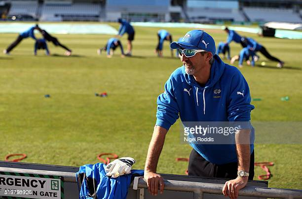 Jason Gillespie coach of Yorkshire during the Yorkshire CCC Media Day at Headingley on April 8 2016 in Leeds England