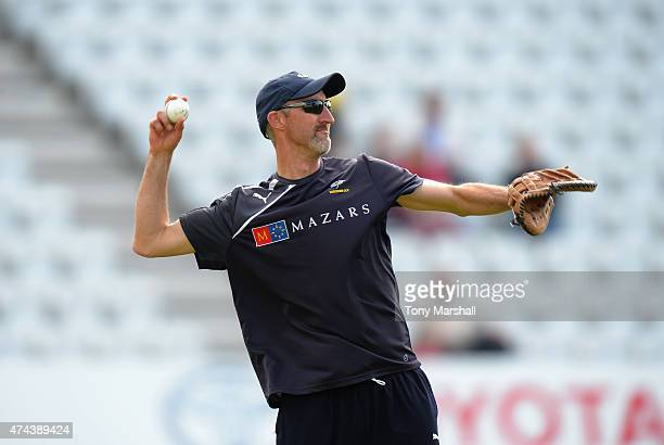 Jason Gillespie coach of Yorkshire Vikings during the NatWest T20 Blast at Trent Bridge on May 22 2015 in Nottingham England
