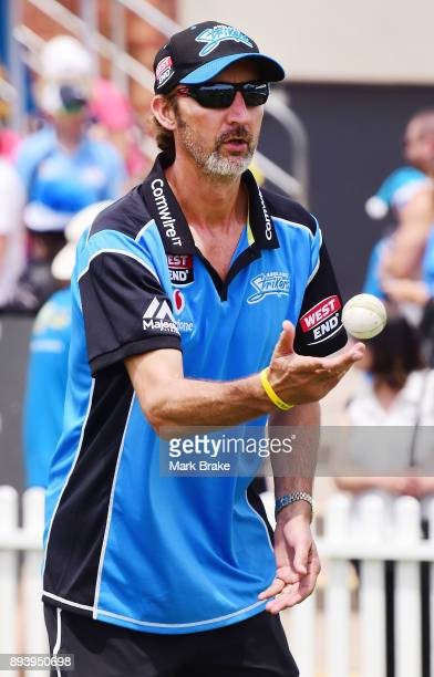 Jason Gillespie during the Women's Big Bash League match between the Adelaide Strikers and the Melbourne Renegades at Gliderol Stadium on December 17...