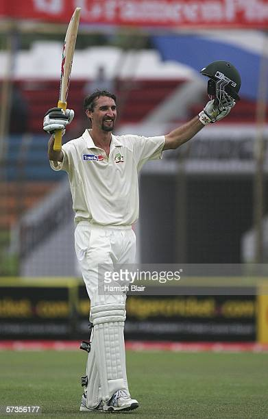 Jason Gillespie of Australia celebrates his century during day three of the Second Test between Bangladesh and Australia played at the Chittagong...