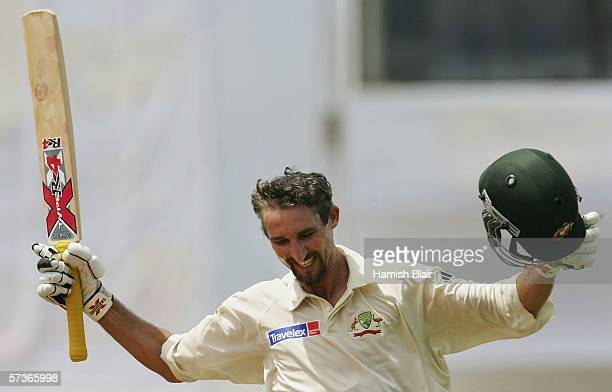Jason Gillespie of Australia celebrates his double century during day four of the Second Test between Bangladesh and Australia played at the...