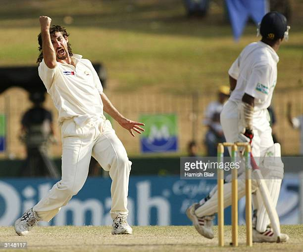 Jason Gillespie of Australia celebrates the wicket of Hashan Tillakaratne of Sri Lanka during day five of the Third Test between Australia and Sri...