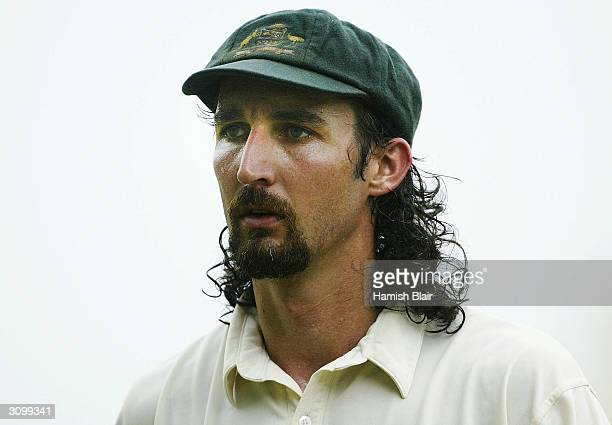 Jason Gillespie of Australia looks on during day one of the Second Test between Australia and Sri Lanka played at Asgiriya Stadium on March 16 2004...