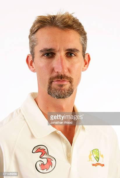 Jason Gillespie of Australia poses during the Australian cricket team portrait session at the Hyatt Regency August 29, 2007 at Coolum Beach,...