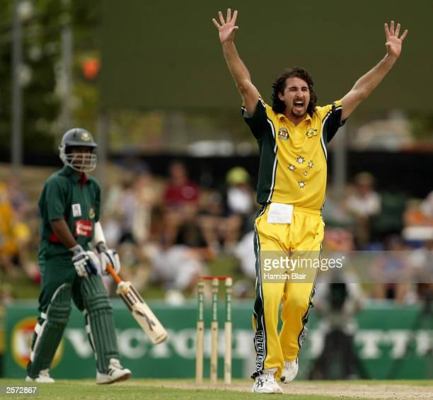 Jason Gillespie of Australia traps Hannan Sarkar of Bangladesh LBW during the 3rd One Day International between Australia and Bangladesh played at...