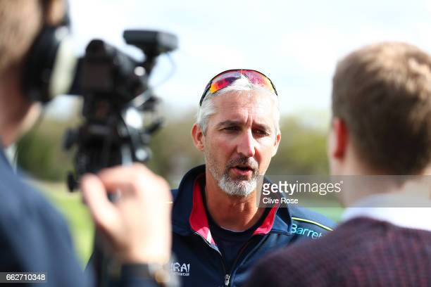 Jason Gillespie of Kent CCC speaks to the media during the Kent CCC Photocall at The Spitfire Ground on March 31 2017 in Canterbury England