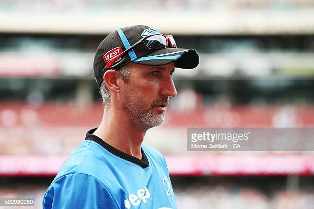 Jason Gillespie of the Strikers looks on during the Big Bash League match between the Adelaide Strikers and the Sydney Sixers at Adelaide Oval on...