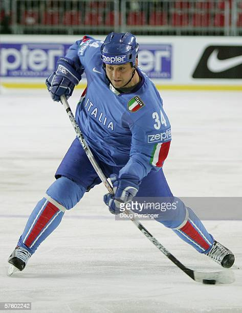 Jason Girone of Italy shoots on goal during the IIHF World Championship relegation game between Italy and Kazakhstan at Skonto Arena on May 12 2006...