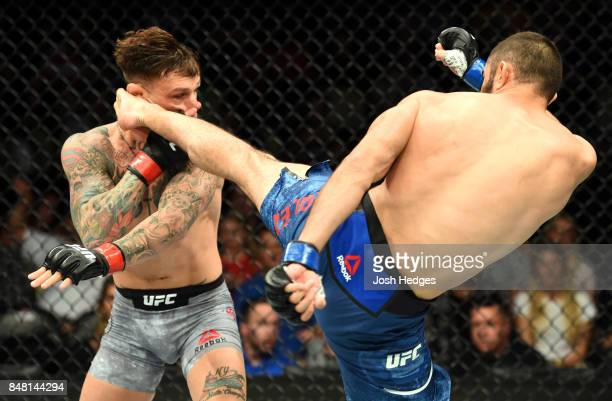 Jason Gonzalez lands a head kick against Gregor Gillespie in their lightweight bout during the UFC Fight Night event inside the PPG Paints Arena on...