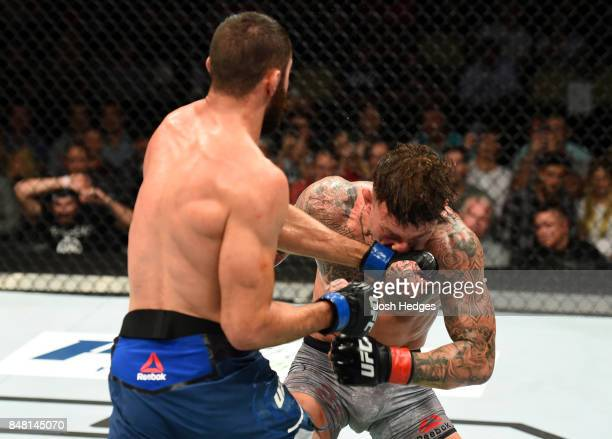 Jason Gonzalez punches Gregor Gillespie in their lightweight bout during the UFC Fight Night event inside the PPG Paints Arena on September 16 2017...