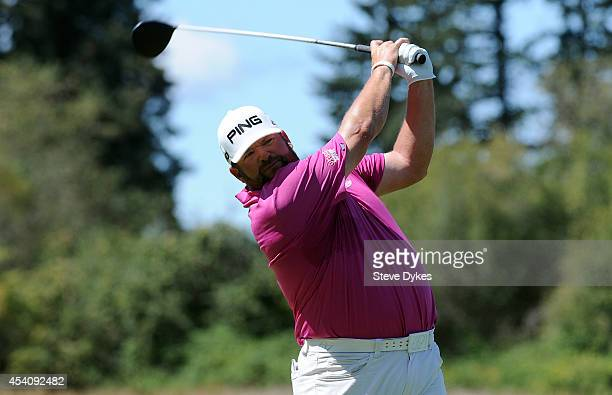 Jason Gore hits his drive on the third hole during the final round of the WinCo Foods Portland Open presented by Kraft at Pumpkin Ridge Golf Club on...