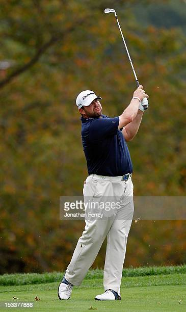 Jason Gore hits his second shot on the 18th hole during the first round of the Webcom Tour Neediest Kids Championship on October 4 2012 at the the...