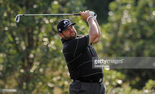 Jason Gore hits his tee shot on the 12th hole during the first round of the Cox Classic Presented by Lexus of Omaha at Champions Run on August 22...