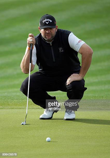 Jason Gore lines up a putt on the first green during the third round of the CareerBuilder Challenge In Partnership With The Clinton Foundation at the...