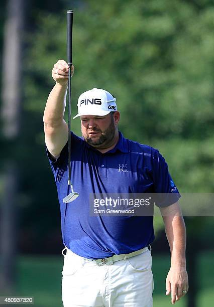 Jason Gore of the United States plays a shot on the 16th hole during the first round of the Barbasol Championship at the Robert Trent Jones Golf...