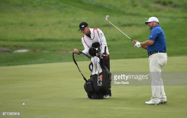 Jason Gore plays a shot on the 18th hole during the second round of the Webcom Tour United Leasing Finance Championship at Victoria National Golf...