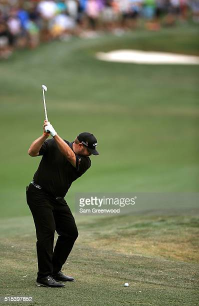Jason Gore plays a shot on the first hole during the final round of the Valspar Championship at Innisbrook Resort Copperhead Course on March 13 2016...