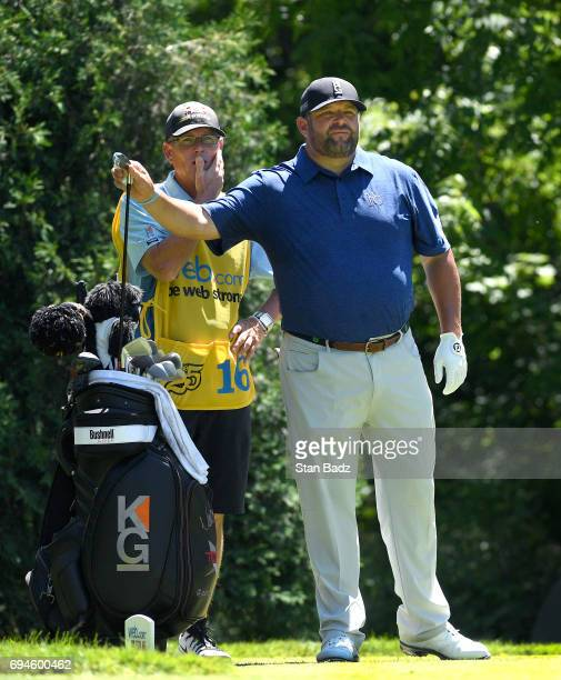 Jason Gore plays a shot on the second hole during the third round of the Webcom Tour RustOleum Championship at Ivanhoe Club on June 10 2017 in...