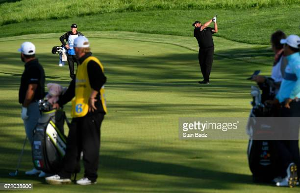 Jason Gore plays his second shot from the 18th fairway during the Webcom Tour United Leasing Finance Championship at Victoria National Golf Club on...