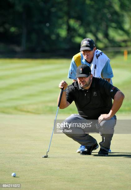 Jason Gore studeis his putt on the fifth hole during the second round of the Webcom Tour RustOleum Championship at Ivanhoe Club on June 9 2017 in...