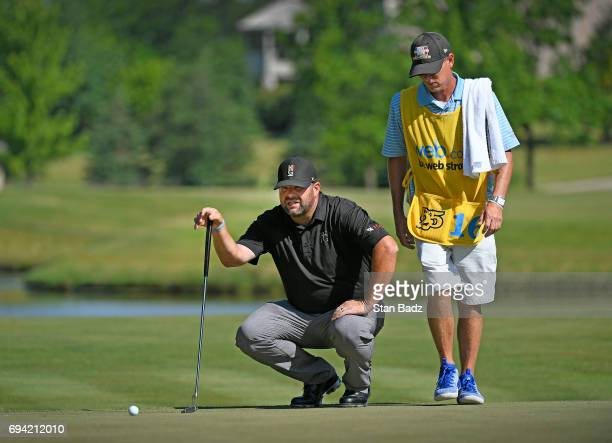 Jason Gore studeis his putt on the seventh hole during the second round of the Webcom Tour RustOleum Championship at Ivanhoe Club on June 9 2017 in...