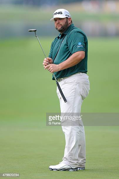 Jason Gore watches his putt on the 16th hole during the second round of the Greenbrier Classic at the Old White TPC on July 3 2015 in White Sulphur...