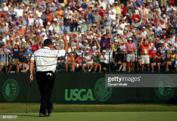 Jason Gore waves to tha galley on the 18th green during round three of the US Open on Pinehurst No 2 at the Pinehurst Resort on June 18 2005 in...