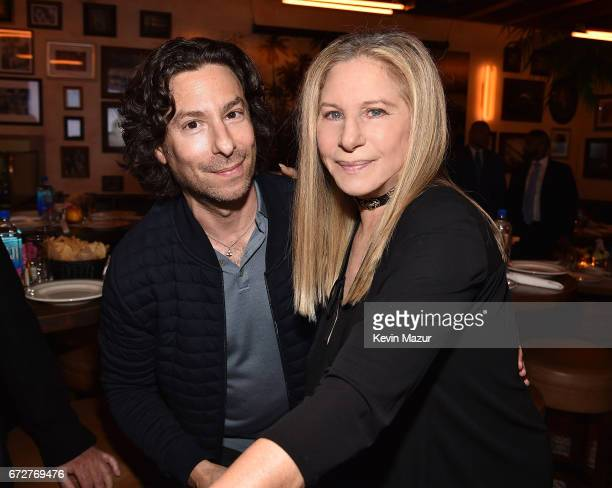 Jason Gould and Barbra Streisand attend Barbra Streisand's 75th birthday at Cafe Habana on April 24 2017 in Malibu California