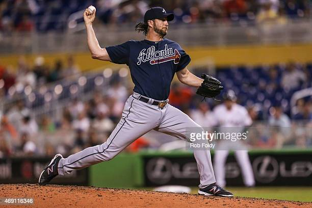Jason Grilli of the Atlanta Braves pitches during the ninth inning of the game against the Miami Marlins at Marlins Park on April 8 2015 in Miami...