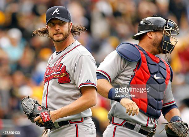 Jason Grilli of the Atlanta Braves reacts after closing the ninth inning and defeating the Pittsburgh Pirates 21 at PNC Park on June 28 2015 in...